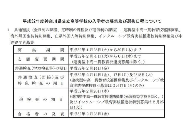 公立 高校 県 時間割 神奈川 入試