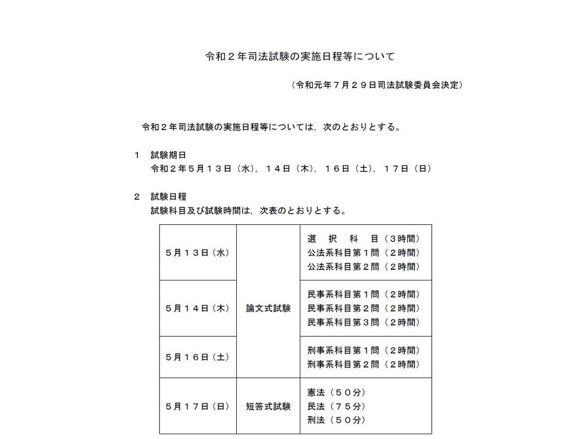 司法 試験 2020