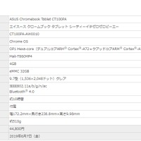 ASUS Chromebook Tablet CT100PAのスペック